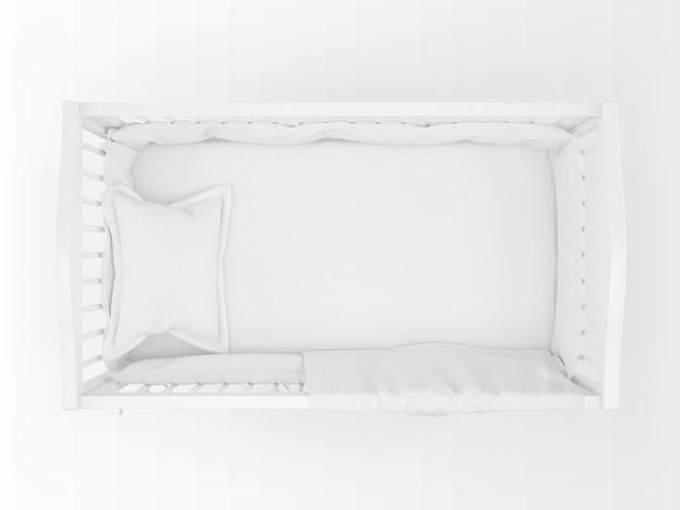 Realistic white cradle isolated on white on top view