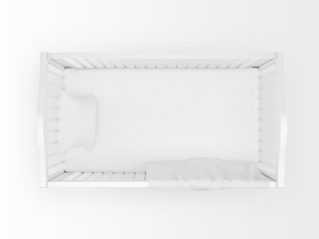 Culla bianca realistica isolata on white sulla vista dall'alto