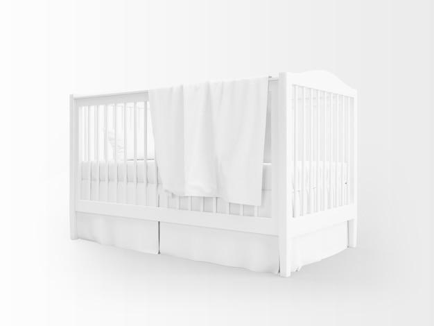 Culla bianca realistica isolata su bianco