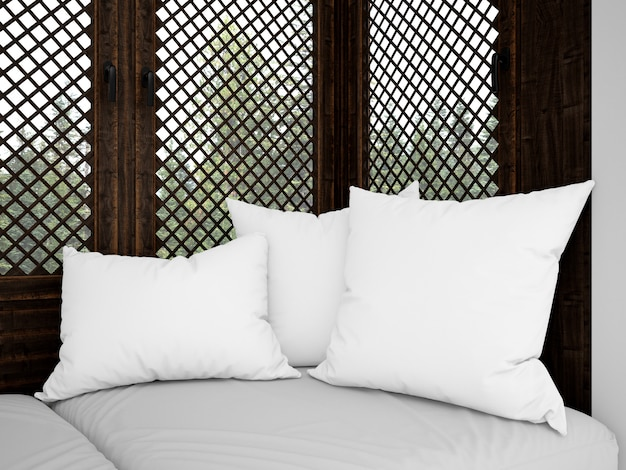 Realistic white cushions on a rustic sofa