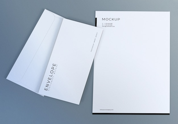 Realistic white envelope mockup design template for presentation