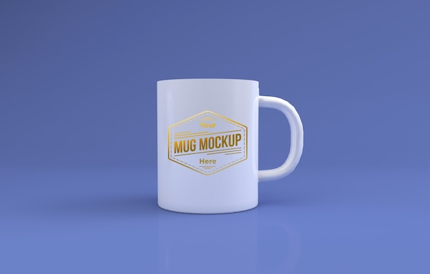 Realistic white large mug mockup 3d rendered isolated