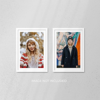 Realistic white photo frame mockup