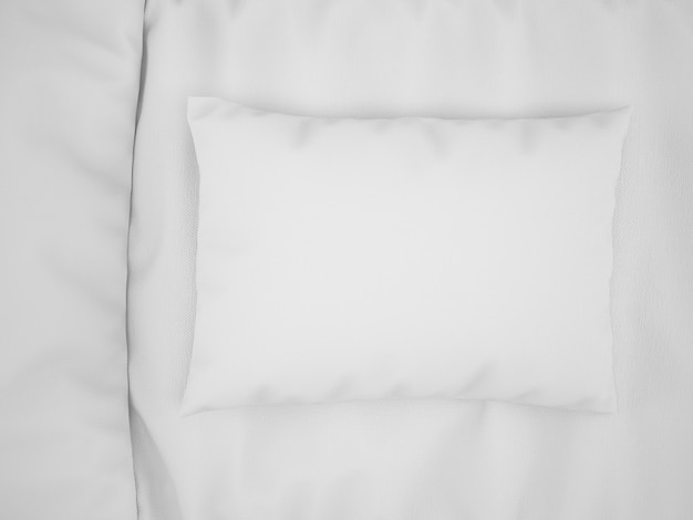 Realistic white pillow on bed on top view