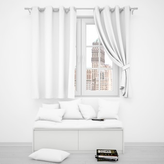 Realistic white room with a window and a sofa