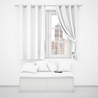 Stanza bianca realistica con una finestra e un divano