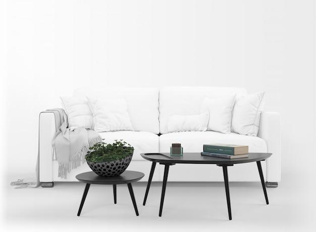 Realistic white sofa mockup with table