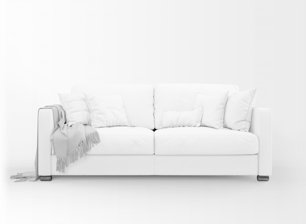 Realistic white sofa mockup