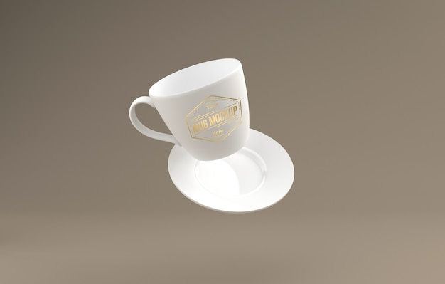 Realistic white tea cup with plate mockup 3d rendered isolated