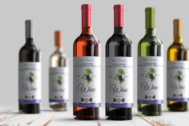 Realistic wine bottle label mock-up