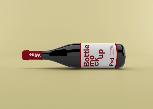 Realistic wine bottle with label mockup