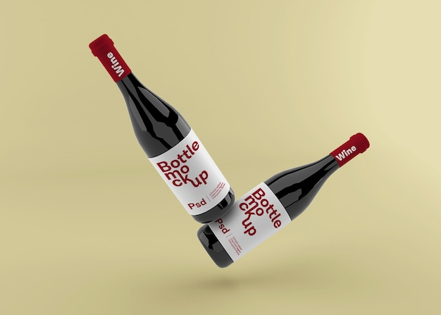 Реалистичная бутылка вина с макетом этикетки