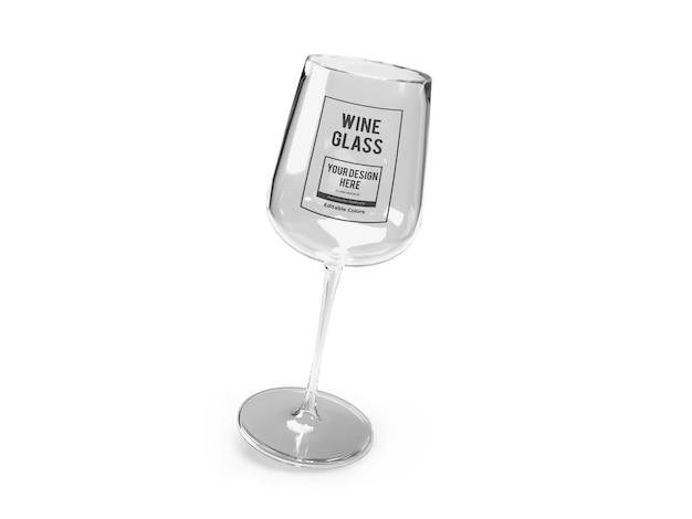 分離された現実的なワイングラスのモックアップテンプレート