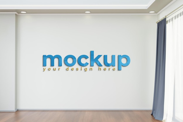 Realistic with wall 3d indoor mockup