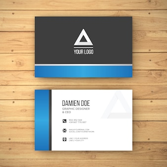 Realistic wood background business card mockup