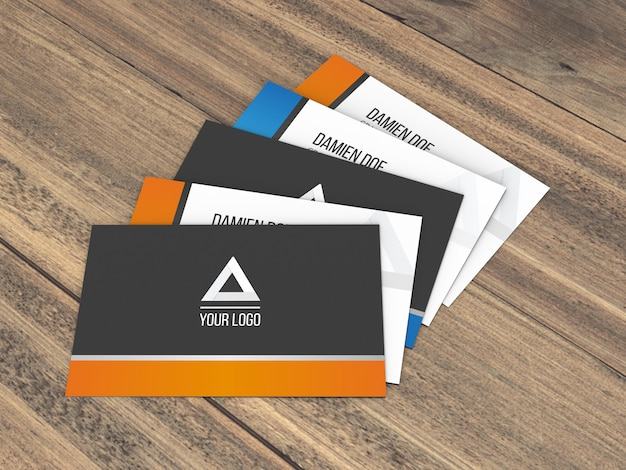Realistic wood background business cards mockup
