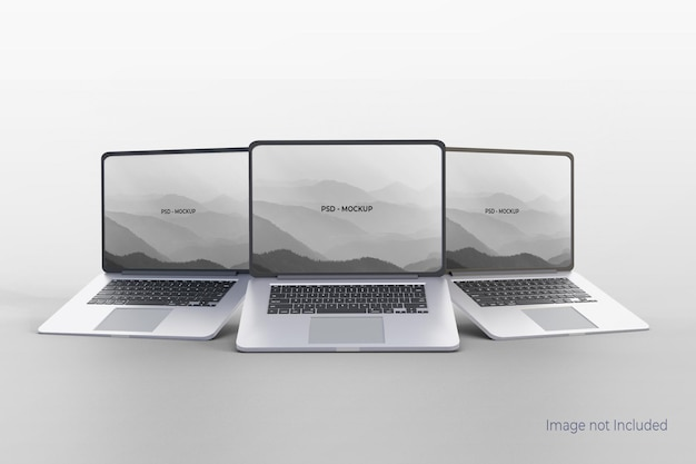 Реалистичный дизайн макета ноутбука на сером
