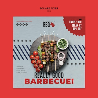 Really good bbq square flyer template