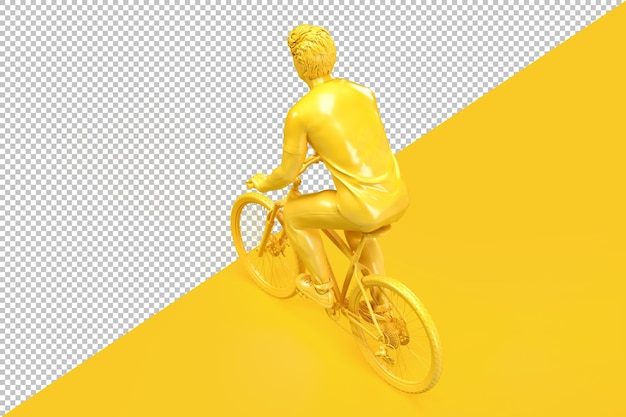 Above rear view of casual dressed man on bicycle