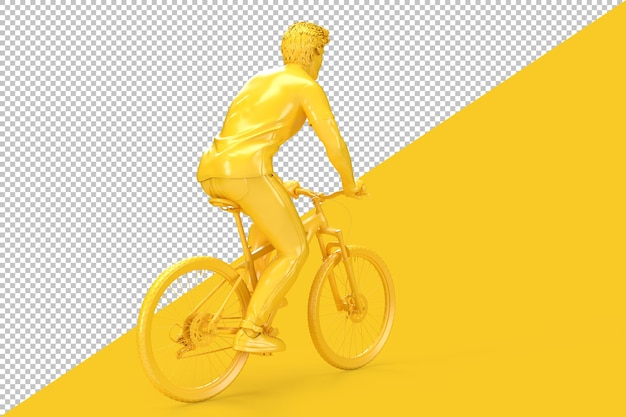 Rear view of cyclist riding a bicycle in 3d rendering