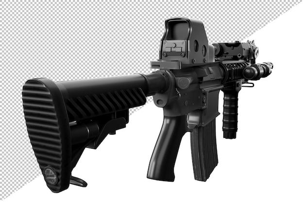 시준기 광학 조준경이 있는 현대식 자동 소총의 후면 보기. 외딴. 3d 렌더링