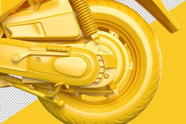 모터 스쿠터의 뒷바퀴 렌더링을 닫습니다.