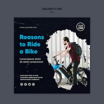 Reasons to ride a bike ad square flyer template