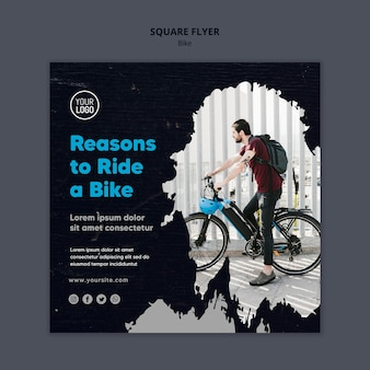 Reasons to ride a bike ad template square flyer