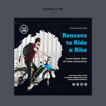 Reasons to ride a bike square flyer template
