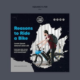 Reasons to ride a bike template square flyer