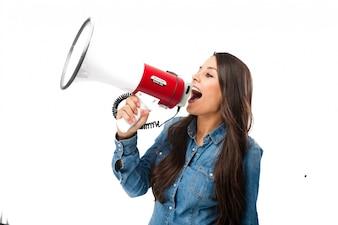 Rebellious teenager using a bullhorn