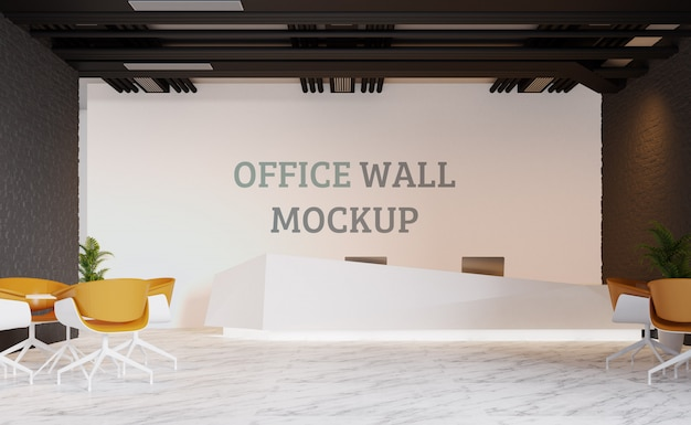 Reception area designed in industrial style. wall mockup