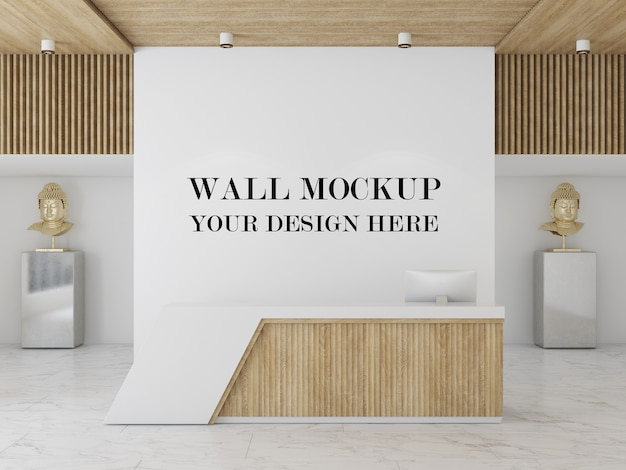 Reception area empty wall background 3d rendering mockup