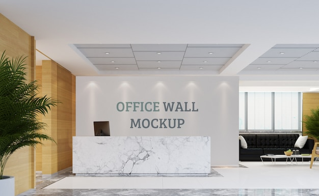 Reception area of modern design. wall mockup