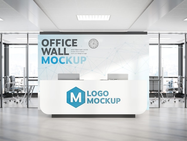 Reception desk in modern office with large wall mockup