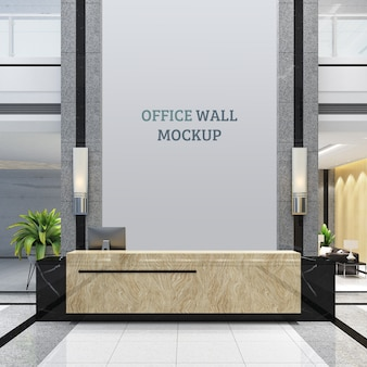 Reception made of natural stone with wall mockup