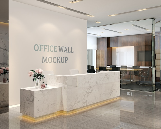 The reception space has a simple and modern style wall mockup