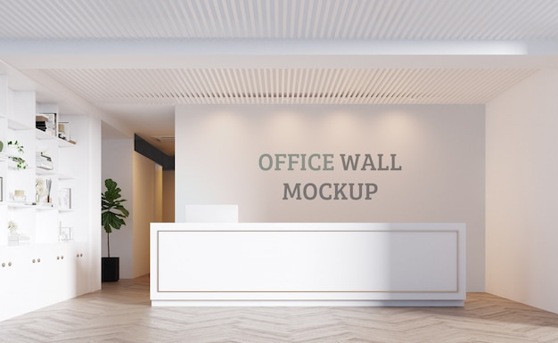 Reception space with white colors. wall mockup