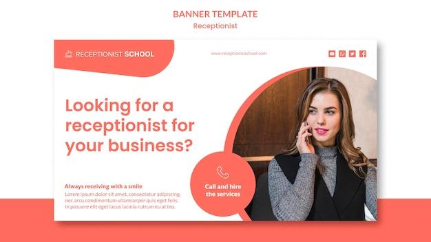 Modello di banner concetto receptionist