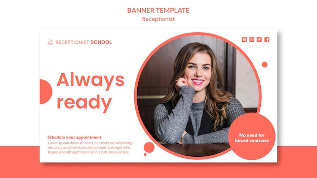 Receptionist concept banner template
