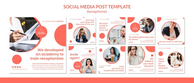 Receptionist concept social media post template