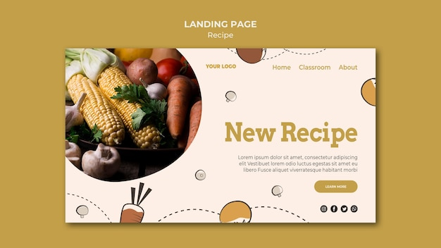 Recipe landing page template style