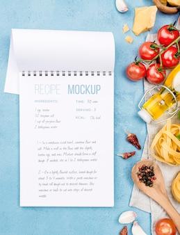 Recipe notebook and pasta assortment