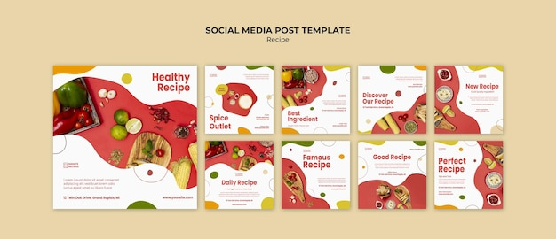 Recipes ad social media post template