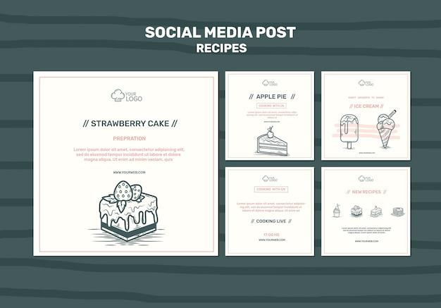 Modello di post sui social media di concetto di ricette