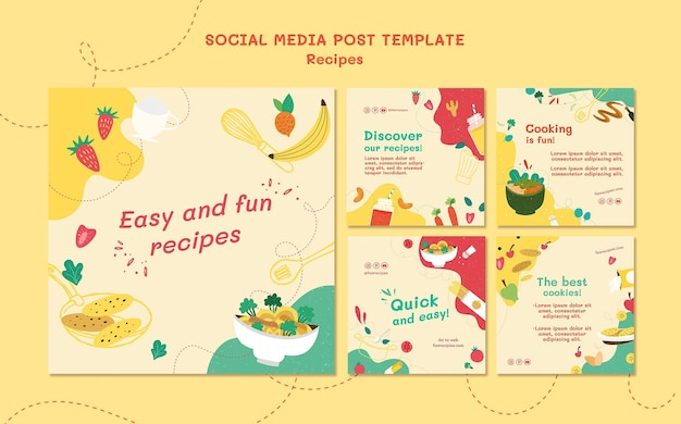 Recipes website social media post template