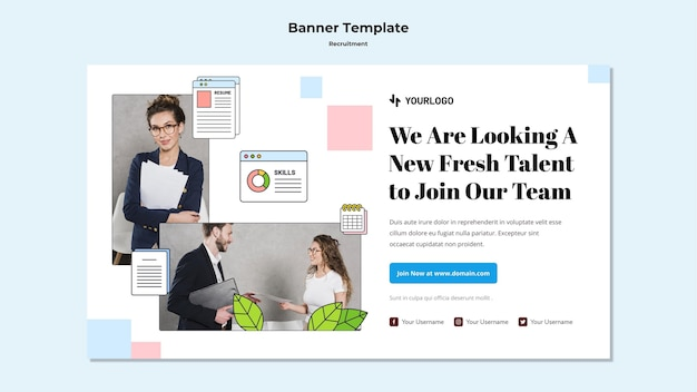 Recruitment concept banner template