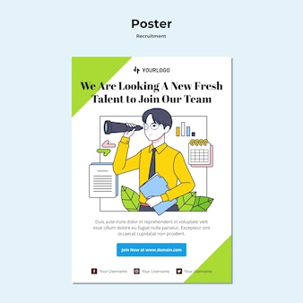 Recruitment concept poster template