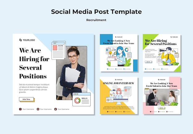 Recruitment concept social media post template