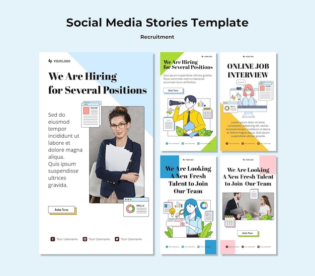 Recruitment concept social media stories template